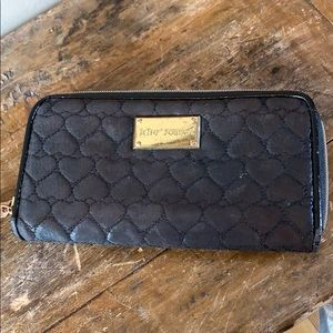 """Betsey Johnson Black Quilted Wallet 8"""" x 4"""""""
